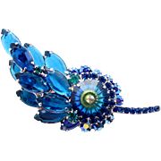 Vintage Juliana Book Piece Bermuda Blue Margarita Rhinestone Leaf Brooch