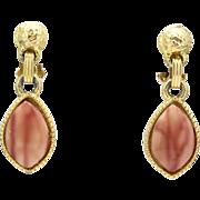 Vintage Juliana Marbled Mauve Heat Formed Plastic Dangle Earrings