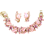 Vintage Juliana Pink molded Iridescent Leaf Rhinestone Bracelet Earrings Demi Parure