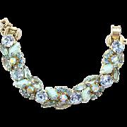 "Vintage Juliana Aqua Blue ""Corn Kernel"" Rhinestone Bracelet"