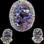 Vintage Juliana Book Piece Black Geode Rhinestone Brooch Earrings Demi Parure