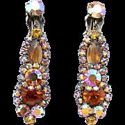 Vintage Juliana Topaz AB Rhinestone Dangle Earrings