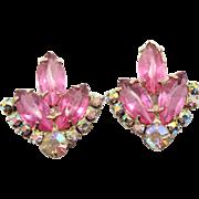 Vintage Juliana Pink and AB Rhinestone Earrings