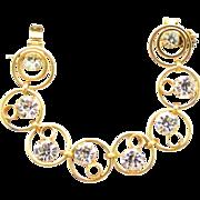 Vintage Juliana for Celebrity Metal Circles Rhinestone Bracelet