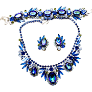 Vintage Juliana Book Piece Bermuda Blue Watermelon Heliotrope Rhinestone Parure Necklace, Bracelet and Earrings