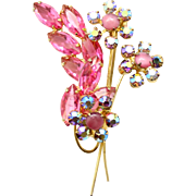Vintage Juliana Pink Rhinestone Pink Moonstone Cabochon Flower Brooch
