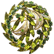 Vintage Juliana Book Piece Olivine Green Rhinestone Filigree Leaf Brooch