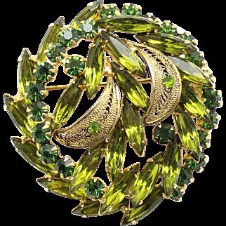 Vintage Juliana Book Piece Olivine Green Rhinestone Filigree Leaf Brooch
