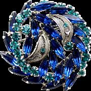 Vintage Juliana Book Piece Blue and Teal Rhinestone Filigree Leaf Brooch