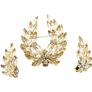 Vintage Juliana Clear Rhinestone Wreath Brooch and Earrings Demi Parure