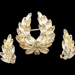 Vintage Juliana Clear Rhinestone Wreath Brooch and Earrings Demi Parure