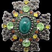 Vintage Juliana Green Cabochon Peridot, Yellow and Topaz Rhinestone Ball Chain Maltese Cross Brooch