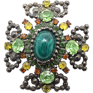 Vintage Juliana Green Cabochon Peridot, Yellow and Topaz Rhinestone Ball Chain Maltese Cross Brooch