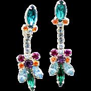 Vintage Juliana Baby Blue, Teal, Green, Fuchsia, Purple and Topaz Rhinestone Dangle Earrings