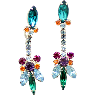 Vintage Juliana Baby Blue, Teal, Green, Fuchsia, Purple and Topaz Rhinestone Dangle Earrings