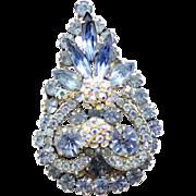 Vintage Juliana Book Piece Baby Blue Rhinestone Pom Pom Disco Ball Brooch Pendant