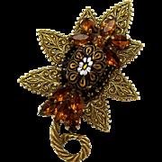 Vintage Juliana Molded Daisy Flower Cabochon, Filigree Topaz Rhinestone Leaf Brooch