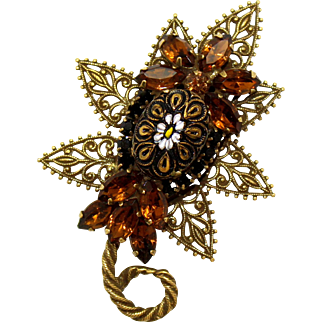 Vintage Juliana Molded Daisy Flower Cabochon, Filigree Topaz Rhinestone Leaf Brooch