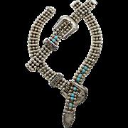 Vintage Juliana Western Ball Chain Turquoise Rhinestone Bracelet and Necklace Demi Parure