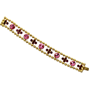 Vintage Juliana Book Piece Ball Chain Pink Rivoli Rhinestone Bracelet
