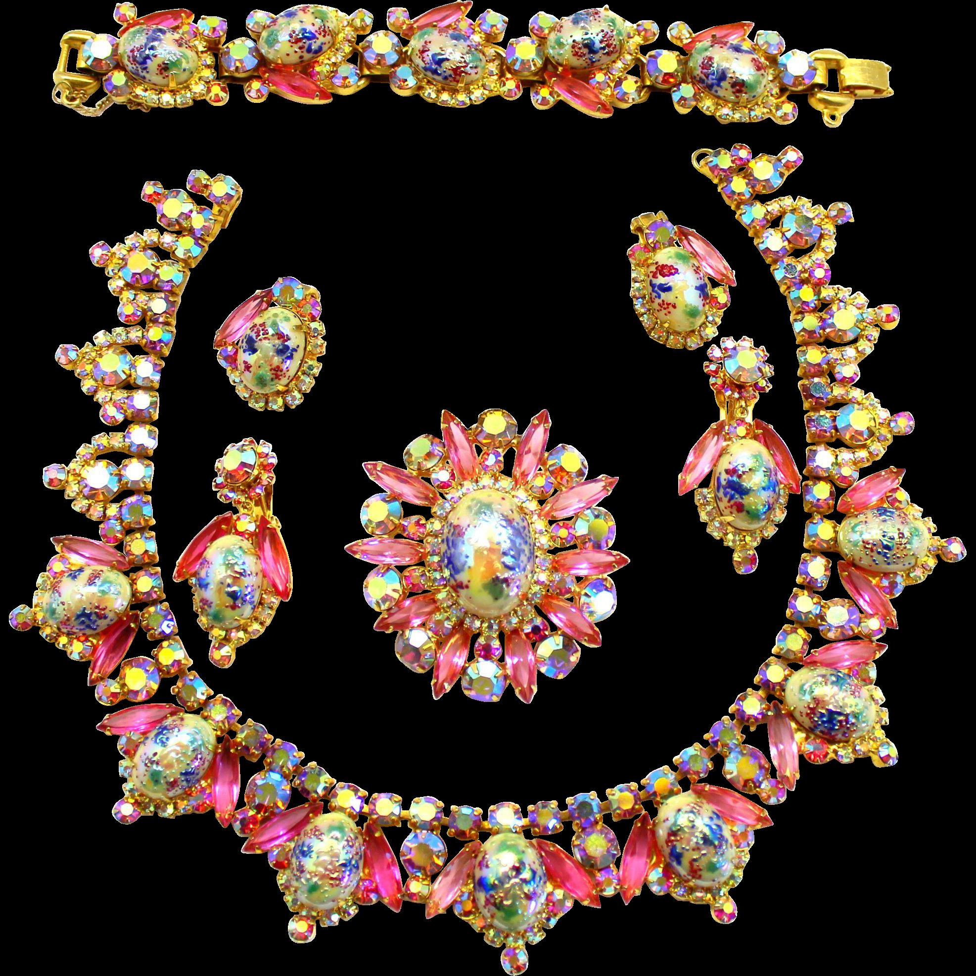 Vintage Juliana Book Piece Pink Rhinestone Stippled Cabochon Easter Egg Collar Necklace Bracelet Brooch Earrings Parure