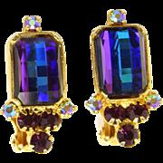 Vintage Juliana Book Piece Heliotrope Amethyst Purple Checker Board Rhinestone Earrings