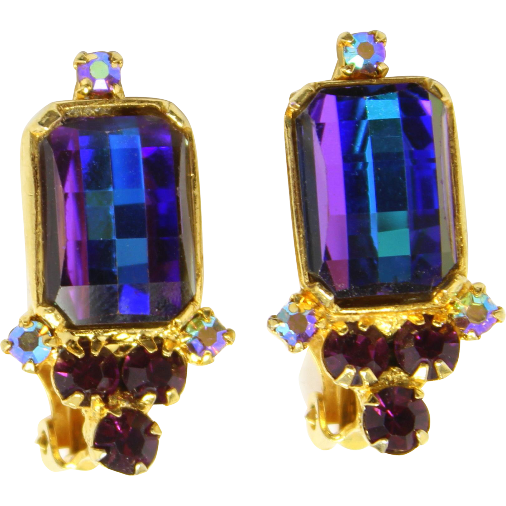 Vintage Juliana Book Piece Heliotrope Amethyst Purple Checker Board Rhinestone Earrings