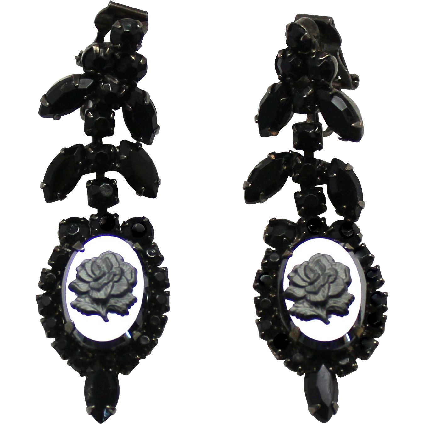 Vintage Juliana Hematite Rose Cameo Rhinestone Dangle Earrings