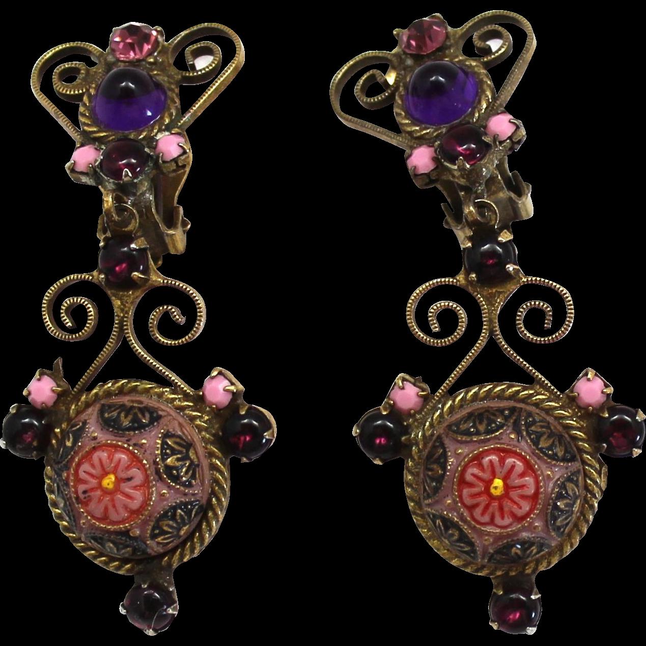 Vintage Juliana Book Piece Pink Purple Moroccan Matrix Dangle Earrings