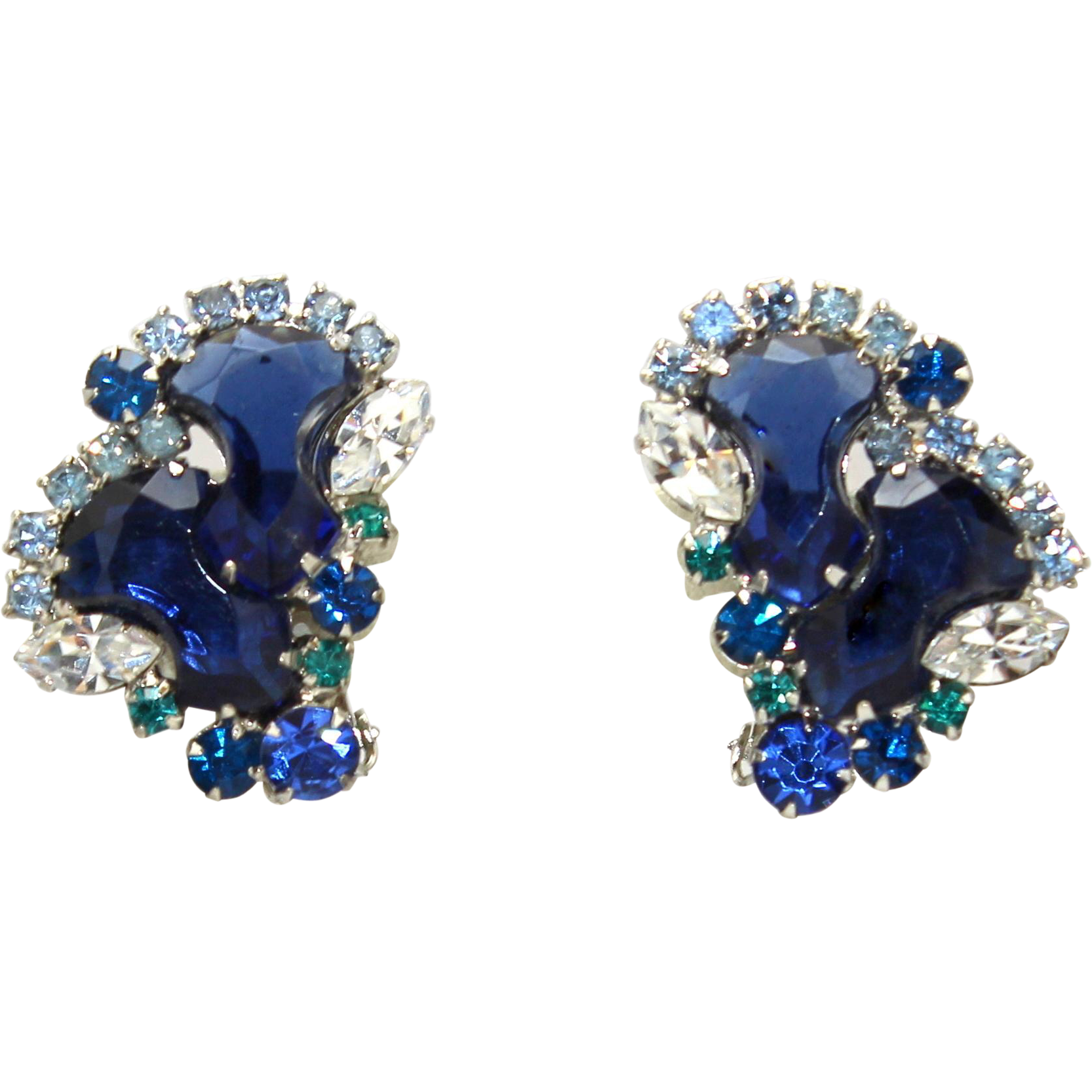 Vintage Juliana Blue Anchor Stone Teal Rhinestone Earrings