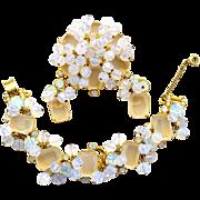 Vintage Juliana Opal Glass Rhinestone Opal Crystal Bead Bracelet Brooch Earrings Parure