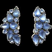 Vintage Juliana Book Piece Frosted Blue Pear Rhinestone Earrings