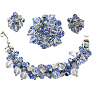 Vintage Juliana Clear Disco Bead Blue Opal Crystal Bead Rhinestone Bracelet Brooch Earrings Parure