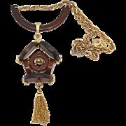 Vintage Juliana RARE Book Piece Wooden Cuckoo Clock Necklace