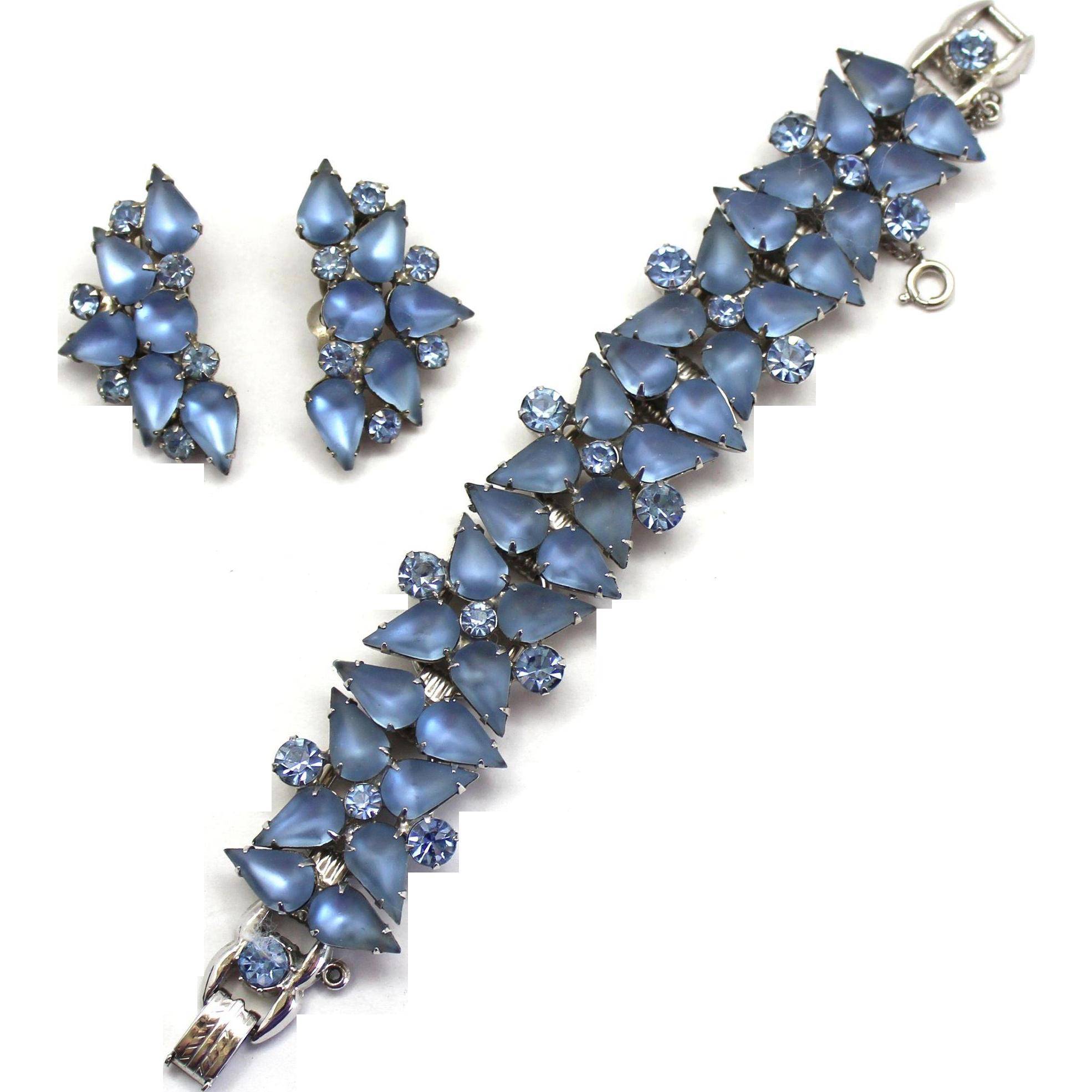 Vintage Juliana Book Piece Frosted Blue Pear Rhinestone Bracelet Earrings Demi Parure