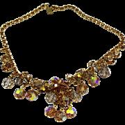 Vintage Juliana Topaz AB Crystal Bead and Rhinestone Necklace
