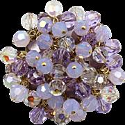 Vintage Juliana Lavender Purple Rhinestone Crystal Opal Glass Bead Brooch