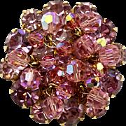 Vintage Juliana Lavender Pink Rhinestone Crystal  Bead Brooch