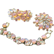 Vintage Juliana Book Piece Pink Opal Glass Carved Rhinestone Clamper Bracelet Brooch Parure
