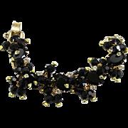 Vintage Juliana Black Rhinestone Crystal Bead Bracelet