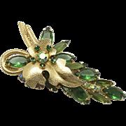 Vintage Juliana Book Piece Olivine Green and AB Rhinestone Metal Leaf Brooch