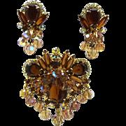 Vintage juliana Book Piece Topaz Rhinestone Bead Brooch Earrings Demi Parure