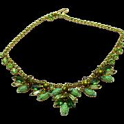 "Vintage Juliana Book Piece Green ""Corn Kernel"" Rhinestone Necklace"
