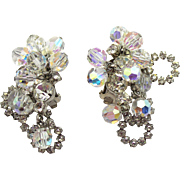 Vintage Juliana Clear Rhinestone Crystal Bead Halo Earrings