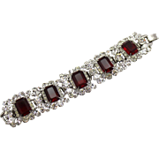 Vintage Juliana Book Piece Ruby Red Emerald Cut Rhinestone Bracelet and Necklace