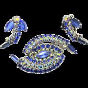 Vintage Juliana Blue and AB Rhinestone Swirling Spiral Brooch Earrings Demi Parure