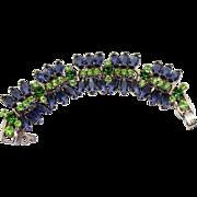 Vintage Juliana Book Piece Blue Hexagon Green Peridot Rhinestone Bracelet
