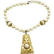 Vintage Juliana Egyptian Revival Book Piece cream White Bead Cabochon Pendant Necklace