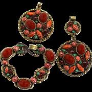 Vintage Juliana Faux Carnelian Coral and Jade Cabochon Pendants Bracelet Parure