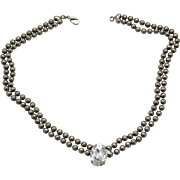 Vintage Juliana Ball Chain Clear Oval Rhinestone Necklace